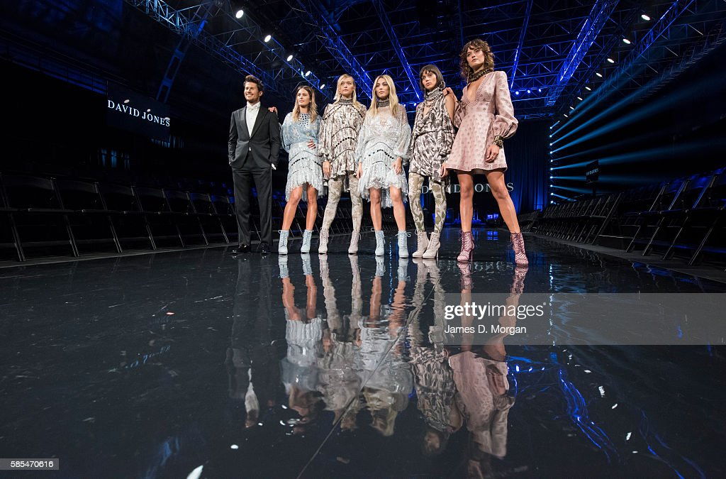 Ambassadors for David Jones Jesinta Campbell Jason Dundas and Jessica Gomes with other models during rehearsals ahead of the David Jones...