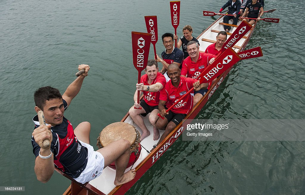 Ambassadors Jonathan Davies, George Gregan and Gavin Hastings together with Hong Kong team players Salom Yiu Kam-Shing and Rowan Varty get a Dragon Boat lesson at Deep Water Bay ahead the Cathay Pacific / HSBC Hong Kong Sevens on March 21, 2013 in Hong Kong.