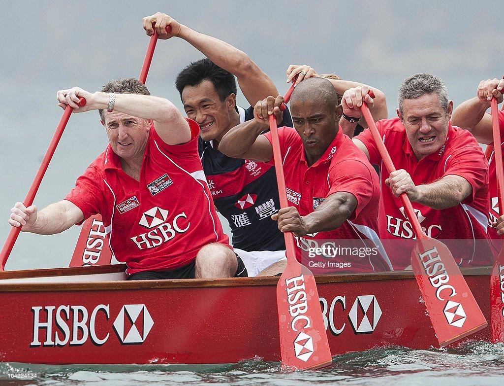 Ambassadors Jonathan Davies, George Gregan and Gavin Hastings together with Hong Kong team player Salom Yiu Kam-Shing get a Dragon Boat lesson at Deep Water Bay ahead the Cathay Pacific / HSBC Hong Kong Sevens on March 21, 2013 in Hong Kong.
