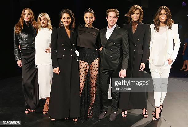 Ambassadors pose alongside Camilla Freeman and Marc Freeman during rehearsal ahead of the David Jones Autumn/Winter 2016 Fashion Launch at David...