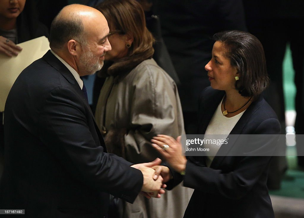 U.S. Ambassdaor to the United Nations Susan Rice and Israeli U.N. Ambassador Ron Prosor talk at a meeting of the General Assembly on November 29, 2012 in New York City. The United States, Israel, Canada and a handful of others voted against today's historic resolution granting non-member observer status to Palestinians. The resolution was approved by the 193-member body in a 138-9 vote, with 41 abstentions.