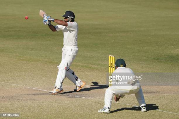 Ambati Rayudu of India A bats during the Quadrangular Series match between Australia A and India A at Allan Border Field on July 9 2014 in Brisbane...