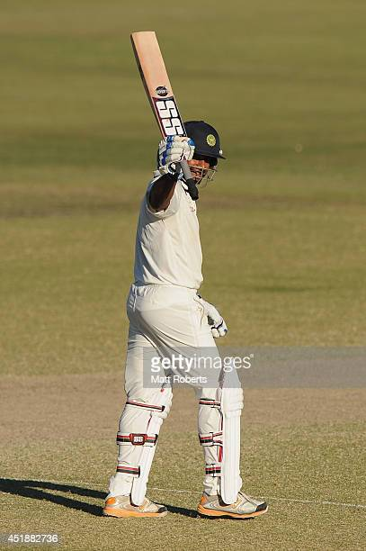 Ambati Rayudu of India A celebrates his century during the Quadrangular Series match between Australia A and India A at Allan Border Field on July 9...