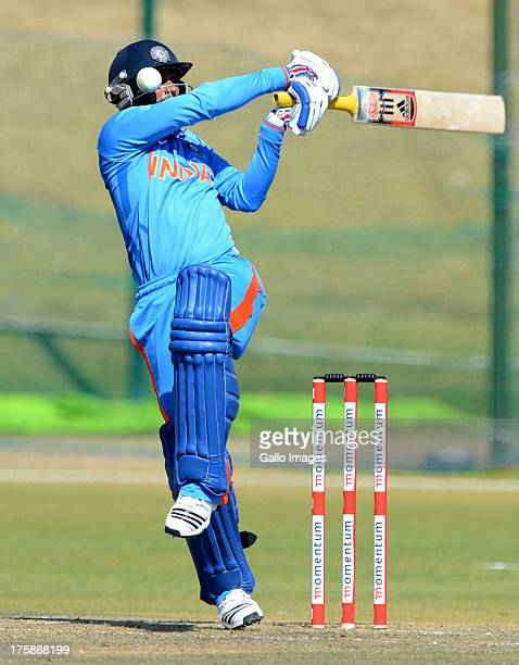 Ambati Rayudu of India A is struck on the head during the 3rd ODI match between South Africa A and India A at Tuks Oval on August 09 2013 in Pretoria...