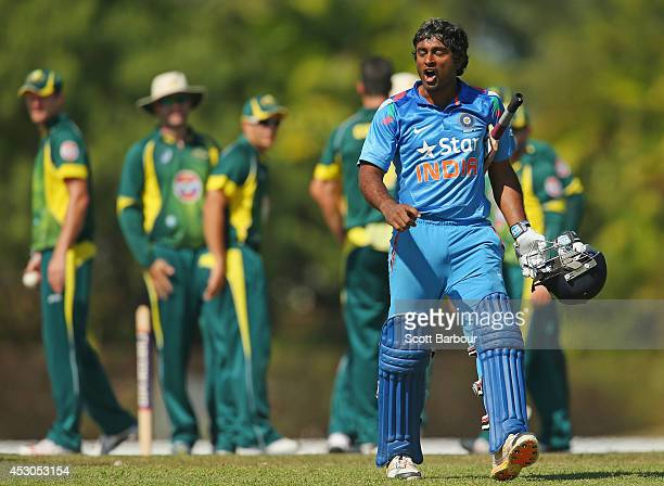 Ambati Rayudu of India 'A' speaks to the umpires after being dismissed during the Cricket Australia Quadrangular Series Final match between Australia...