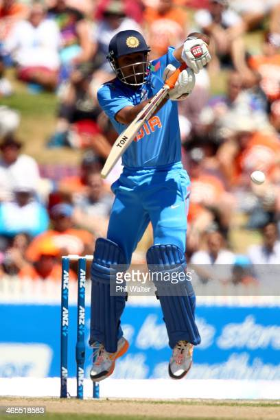 Ambati Rayudu of India bats during game four of the men's one day international series between New Zealand and India at Seddon Park on January 28...