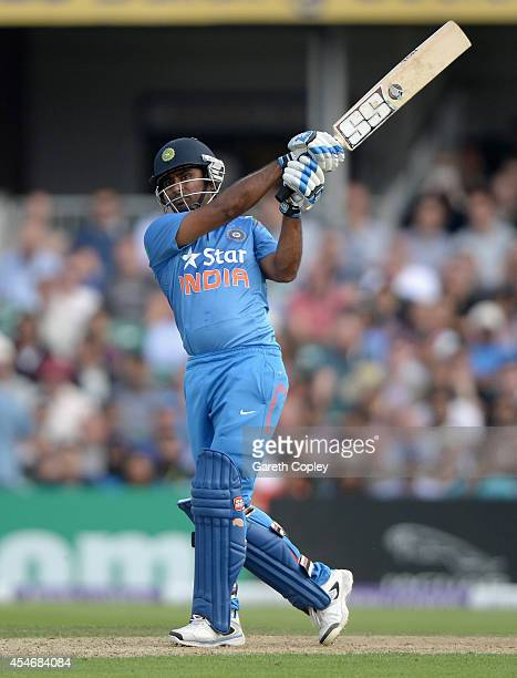 Ambati Rayudu of India bats during the 5th Royal London One Day International between England and India at Headingley on September 5 2014 in Leeds...