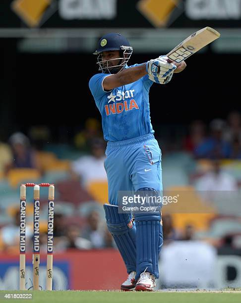 Ambati Rayudu of India bats during the One Day International match between England and India at The Gabba on January 20 2015 in Brisbane Australia