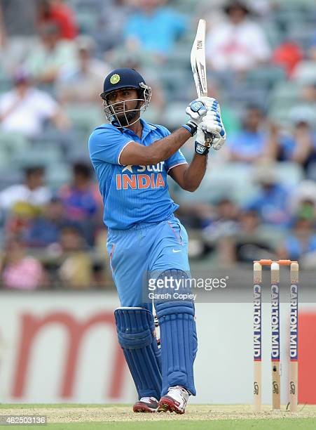 Ambati Rayudu of India bats during the One Day International match between England and India at WACA on January 30 2015 in Perth Australia