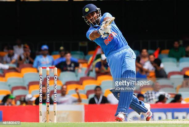 Ambati Rayudu of India bats during the triseries oneday cricket match between England and India at the Gabba in Brisbane on January 20 2015 AFP PHOTO...