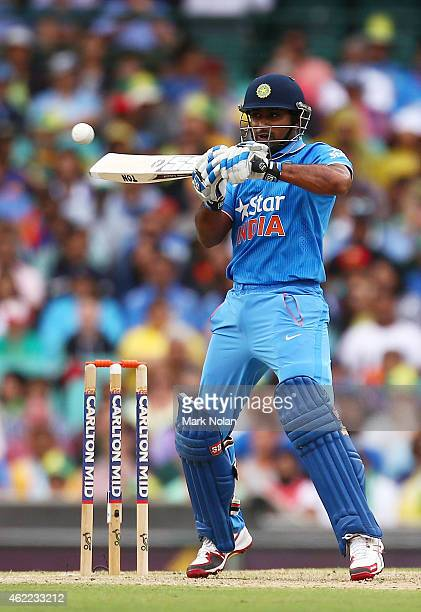 Ambati Rayudu of India bats under a bouncer during the One Day International match between Australia and India at Sydney Cricket Ground on January 26...