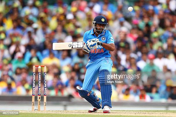 Ambati Rayudu of India ducks under a bouncer during the One Day International match between Australia and India at Sydney Cricket Ground on January...