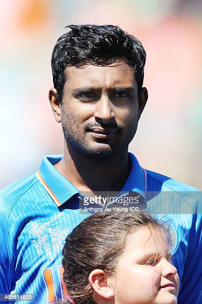 Ambati Rayudu of India during the 2015 ICC Cricket World Cup match between Ireland and India at Seddon Park on March 10 2015 in Hamilton New Zealand