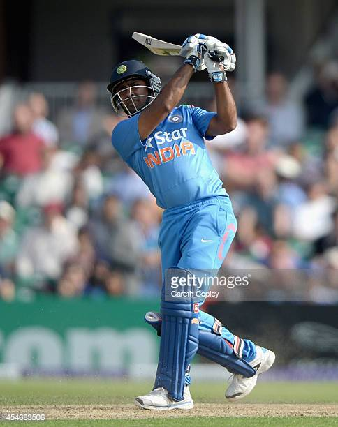 Ambati Rayudu of India hits out for six runs during the 5th Royal London One Day International between England and India at Headingley on September 5...