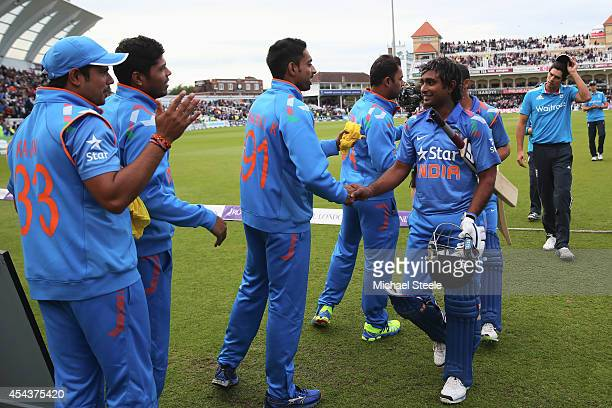 Ambati Rayudu of India is congratulated by team mates after his 64 not out during his sides 6 wicket victory during the third Royal London OneDay...
