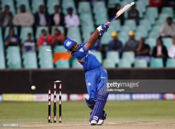 Ambati Rayudu of Mumbai Indians is bowled by Esuan Crandon of Guyana during the Airtel Champions League Twenty20 match between Mumbai Indians and...
