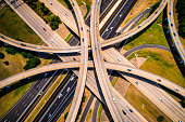 Sepia Amber / Effect / Abstract Aerial Straight down view Curved highways and Interchanges and Overpasses aerial drone high above