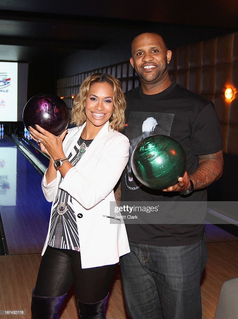 Amber and <a gi-track='captionPersonalityLinkClicked' href=/galleries/search?phrase=C.C.+Sabathia&family=editorial&specificpeople=212819 ng-click='$event.stopPropagation()'>C.C. Sabathia</a> attend their PitCCh In Foundation 2013 Challenge Rules Party at Luxe at Lucky Strike Lanes on November 8, 2013 in New York City.