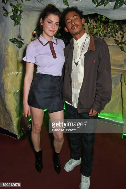 Amber Anderson and Jordan Stephens attend the ALEXACHUNG London launch party at The Aviary Bar on May 30 2017 in London England