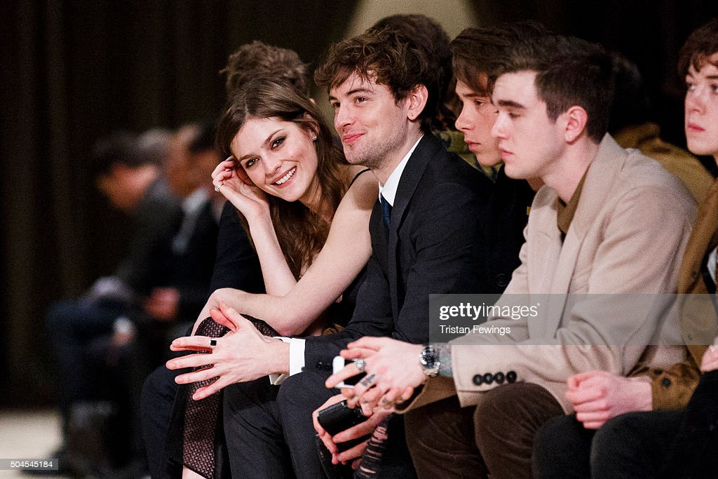 Amber Anderson and Josh Whitehouse attend the Burberry Prorsum show during The London Collections Men AW16 at Kensington Gardens on January 11 2016...