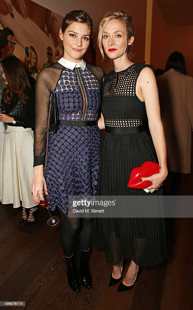 Amber Anderson and Portia Freeman attend a dinner to celebrate SelfPortrait Studio's 1st Anniversary with Han Chong at Victoria Miro Gallery on...