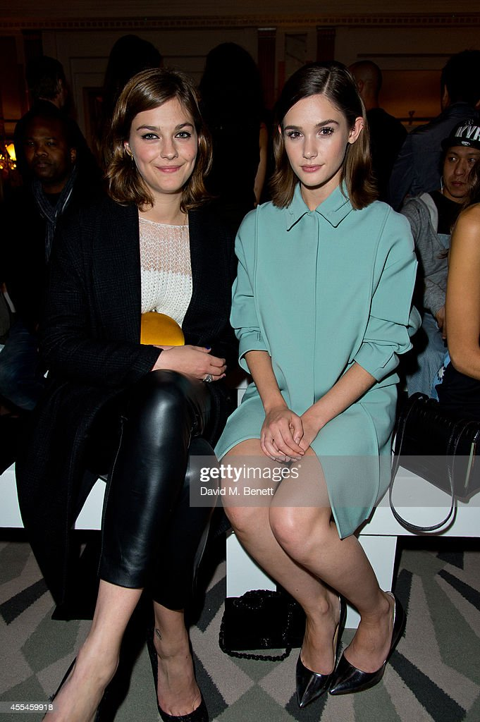 Amber Anderson and Sai Bennett attends Pringle of Scotland SS15 show during London Fashion Week at Claridges Hotel on September 14 2014 in London...