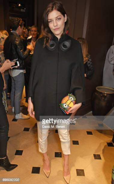 Amber Anderson attends a breakfast hosted by Christopher Bailey Dame Natalie Massenet and Dylan Jones in celebration of London Fashion Week Men's at...