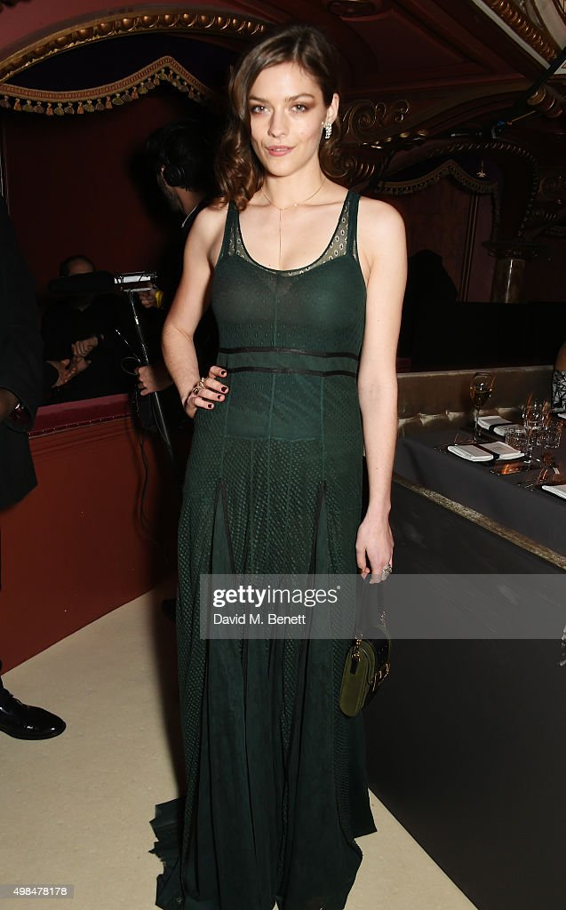 Amber Anderson attends a drinks reception at the British Fashion Awards in partnership with Swarovski at the London Coliseum on November 23 2015 in...