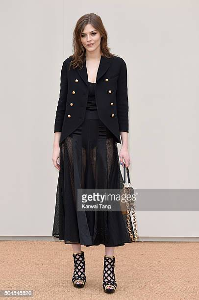 Amber Anderson attends the Burberry show during The London Collections Men AW16 at Kensington Gardens on January 11 2016 in London England