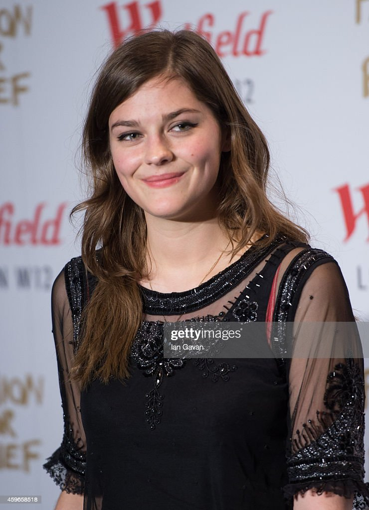 LONDON ENGLAND NOVEMBER 27 Amber Anderson attends the Fashion For Relief Pop Up launch party at Westfield shopping centre on November 27 2014 in...