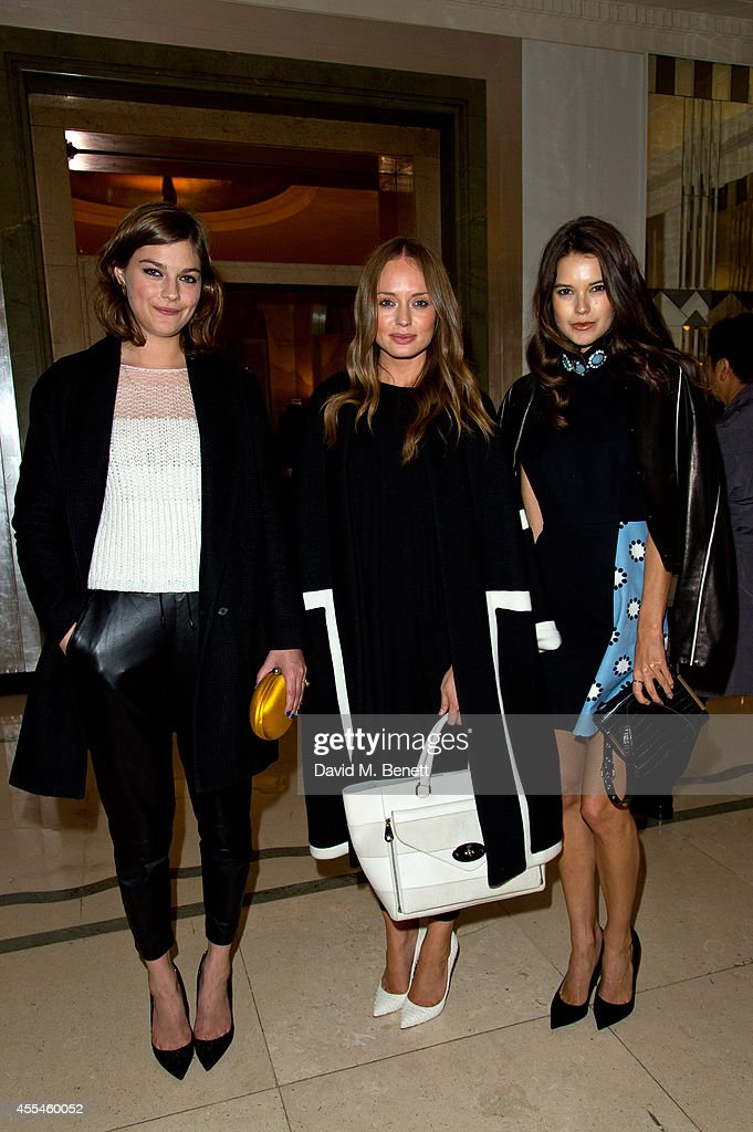Amber Anderson Laura Haddock and Sarah Ann Macklin attends Pringle of Scotland SS15 show during London Fashion Week at Claridges Hotel on September...