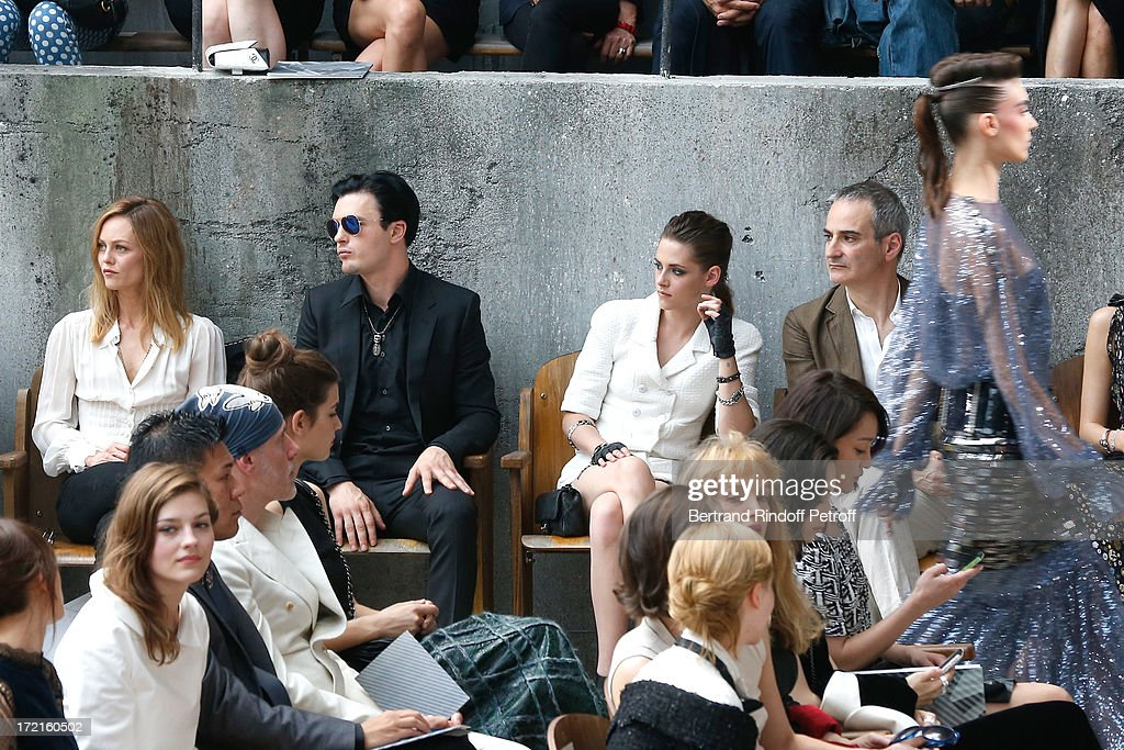 Amber Anderson, Vanessa Paradis, Michael Pitt , Kristen Stewart and Olivier Assayas attend the Chanel show as part of Paris Fashion Week Haute-Couture Fall/Winter 2013-2014 at Grand Palais on July 2, 2013 in Paris, France.