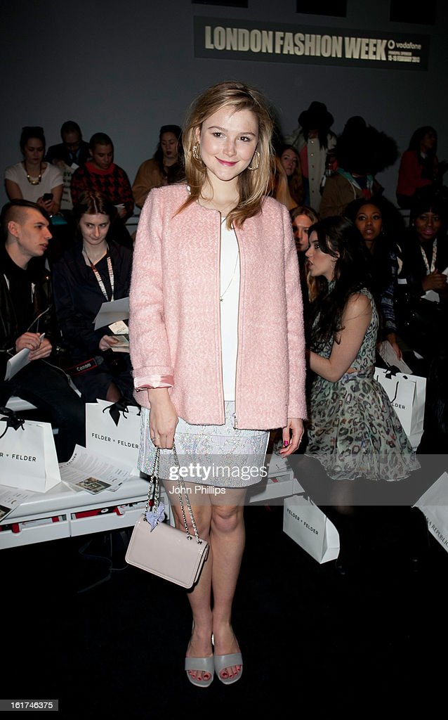 <a gi-track='captionPersonalityLinkClicked' href=/galleries/search?phrase=Amber+Atherton&family=editorial&specificpeople=7192882 ng-click='$event.stopPropagation()'>Amber Atherton</a> attends the Felder Felder show during London Fashion Week Fall/Winter 2013/14 at Somerset House on February 15, 2013 in London, England.