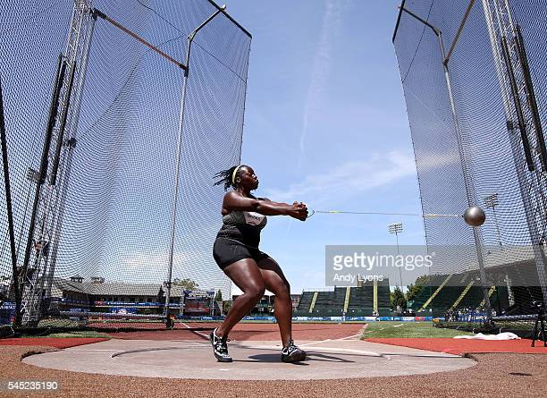 Amber Campbell first place reacts in the Women's Hammer Throw Final during the 2016 US Olympic Track Field Team Trials at Hayward Field on July 6...