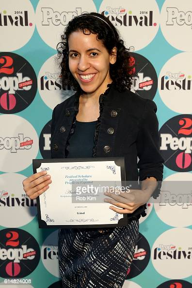 Amber Castillo recipient of $5000 college scholarship attends the 5th Annual Festival PEOPLE En Espanol Day 1 at the Jacob Javitz Center on October...