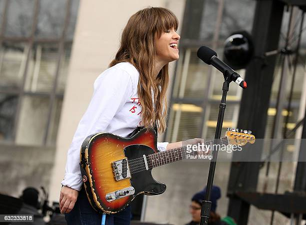 Amber Coffman of Dirty Projectors performs at the rally at the Women's March on Washington on January 21 2017 in Washington DC