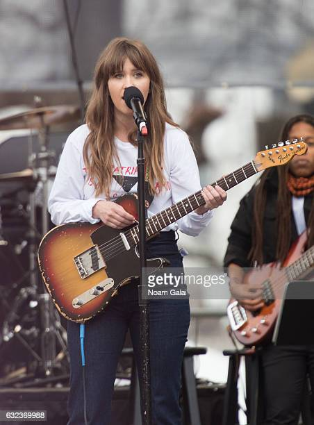 Amber Coffman of Dirty Projectors performs at the Women's March on Washington on January 21 2017 in Washington DC