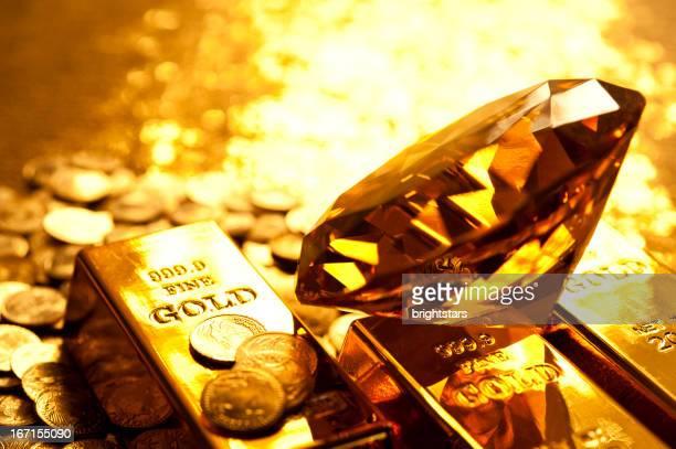 Amber diamond au gold Bar