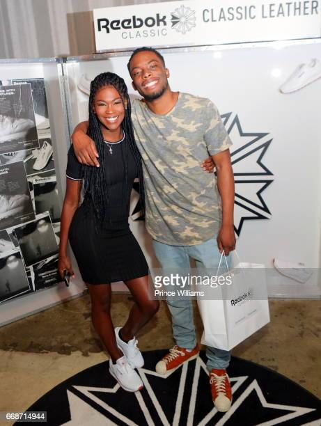 Amber Grimes and Woody McClain attend Reebok Classic Classic Leather Project Hosted By Amber Grimes on April 12 2017 in Atlanta Georgia