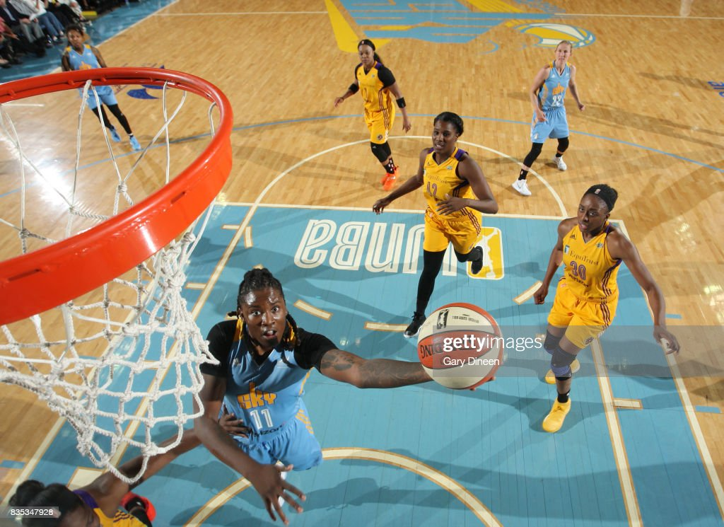Amber Harris #11 of the Chicago Sky shoots the ball against the Los Angeles Sparks on August 18, 2017 at Allstate Arena in Rosemont, IL.