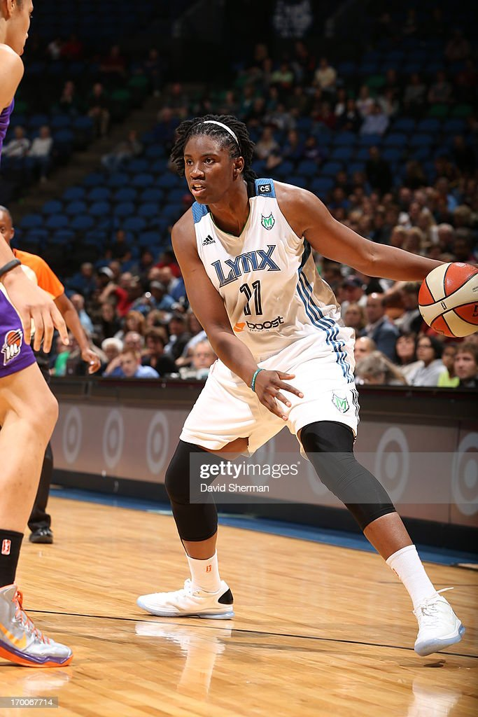 <a gi-track='captionPersonalityLinkClicked' href=/galleries/search?phrase=Amber+Harris&family=editorial&specificpeople=2225907 ng-click='$event.stopPropagation()'>Amber Harris</a> #11 of the Minnesota Lynx looks to pass during the WNBA game against the Phoenix Mercury on June 6, 2013 at Target Center in Minneapolis, Minnesota.