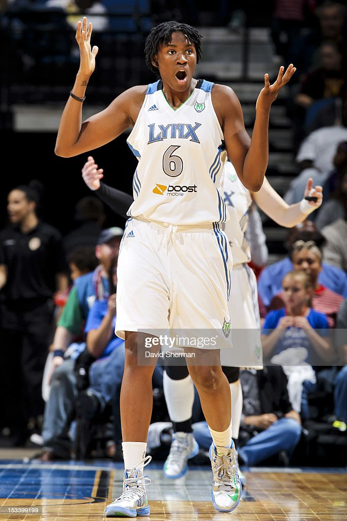Amber Harris #6 of the Minnesota Lynx reacts to a call while playing against the Los Angeles Sparks during Game One of the 2012 WNBA Western Conference Finals on October 4, 2012 at Target Center in Minneapolis, Minnesota.