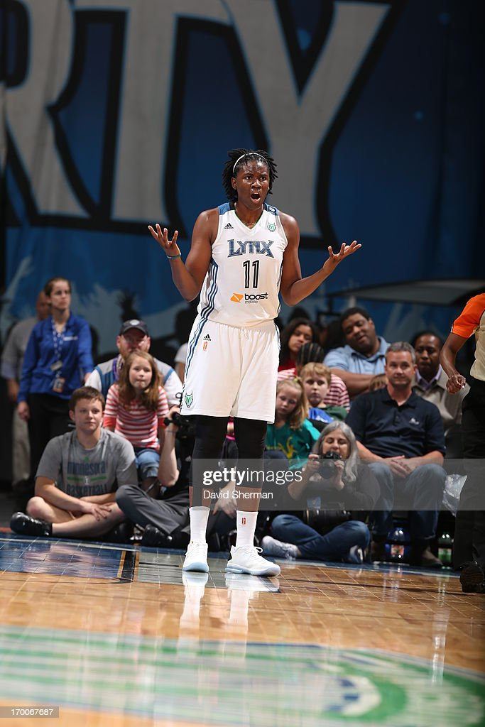 <a gi-track='captionPersonalityLinkClicked' href=/galleries/search?phrase=Amber+Harris&family=editorial&specificpeople=2225907 ng-click='$event.stopPropagation()'>Amber Harris</a> #11 of the Minnesota Lynx reacts to the play during the WNBA game against the Phoenix Mercury on June 6, 2013 at Target Center in Minneapolis, Minnesota.