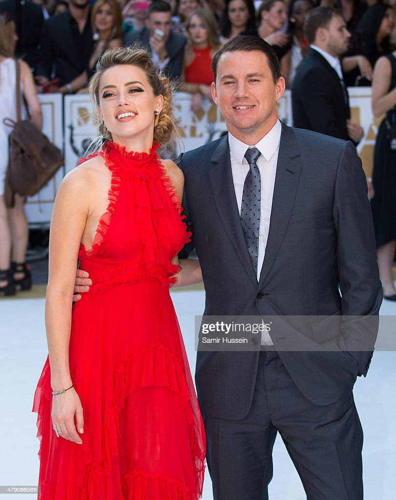 Amber Heard and Channing Tatum attend the European Premiere of 'Magic Mike XXL' at Vue West End on June 30, 2015 in London, England.