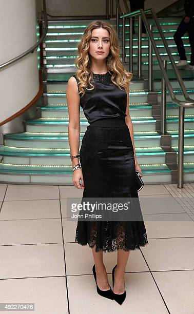 Amber Heard attends the 'Black Mass' Virgin Atlantic Gala screening during the BFI London Film Festival at Odeon Leicester Square on October 11 2015...