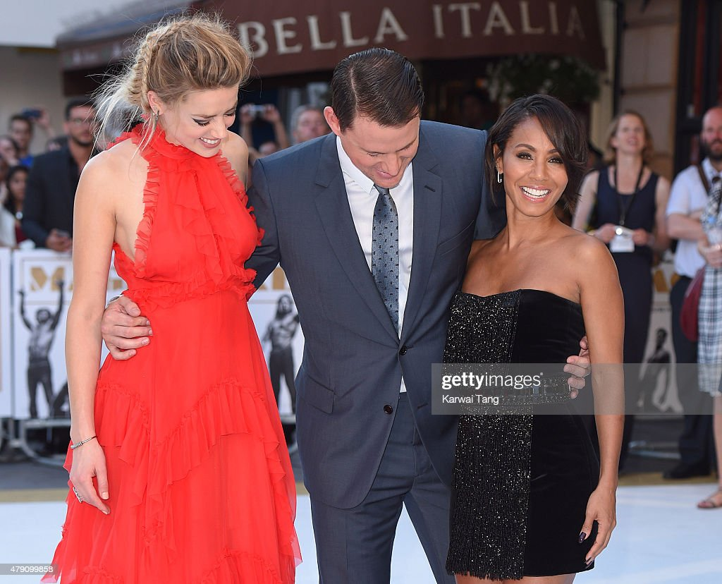 Amber Heard, Channing Tatum and Jada Pinkett Smith attend the European Premiere of 'Magic Mike XXL' at Vue West End on June 30, 2015 in London, England.