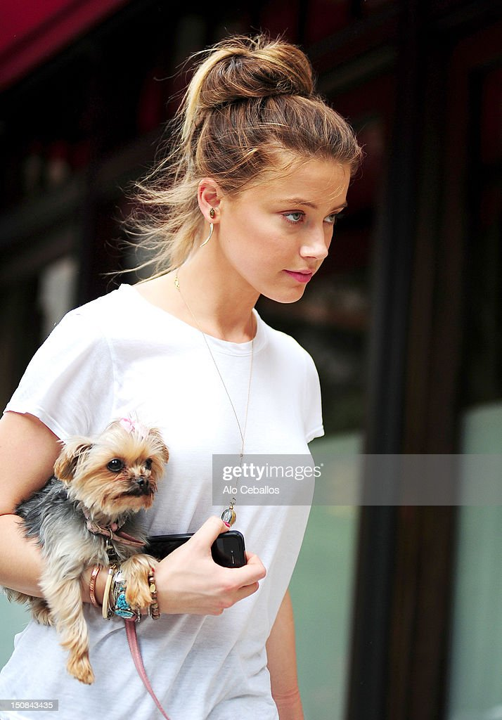 Amber Heard is seen in tribeca on the streets of Manhattan on August 27, 2012 in New York City.