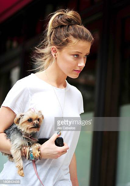 Amber Heard is seen in tribeca on the streets of Manhattan on August 27 2012 in New York City