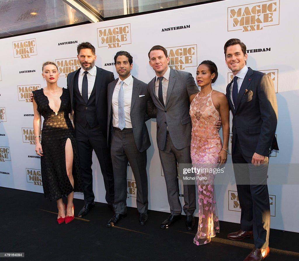 Amber Heard Joe Manganiello Adam Rodriguez Channing Tatum Jada Pinkett Smith and Matt Bomer attend the Amsterdam premiere of 'Magic Mike XXL' on July...