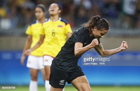 Amber Hearn of New Zealand celebrates after scoring her team's first goal during the Women's Group G match between Colombia and New Zealand on Day 1...